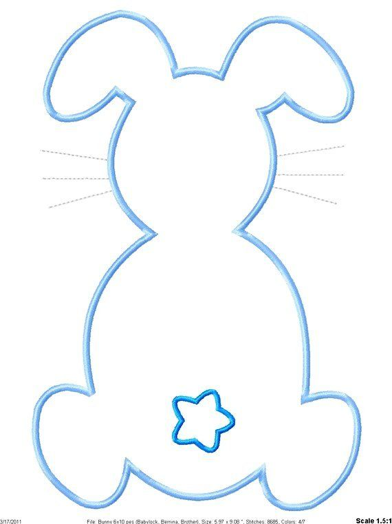 outline easter bunny machine embroidery applique design 2016