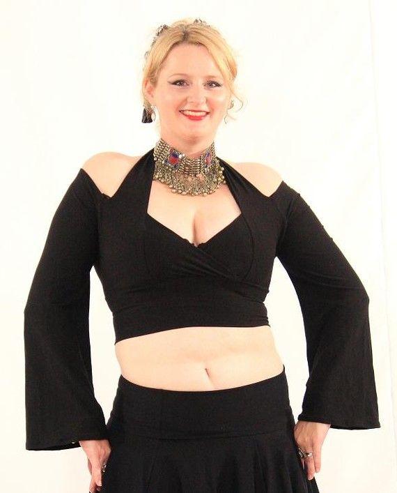 Flattering Long Sleeve Dance Top Black