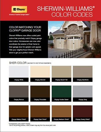Did you know that sherwin williams offers paint colors to Clopay garage door colors