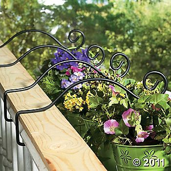 hooks on the porch rail no flower box repair i wonder if these would work on a vinyl fence. Black Bedroom Furniture Sets. Home Design Ideas