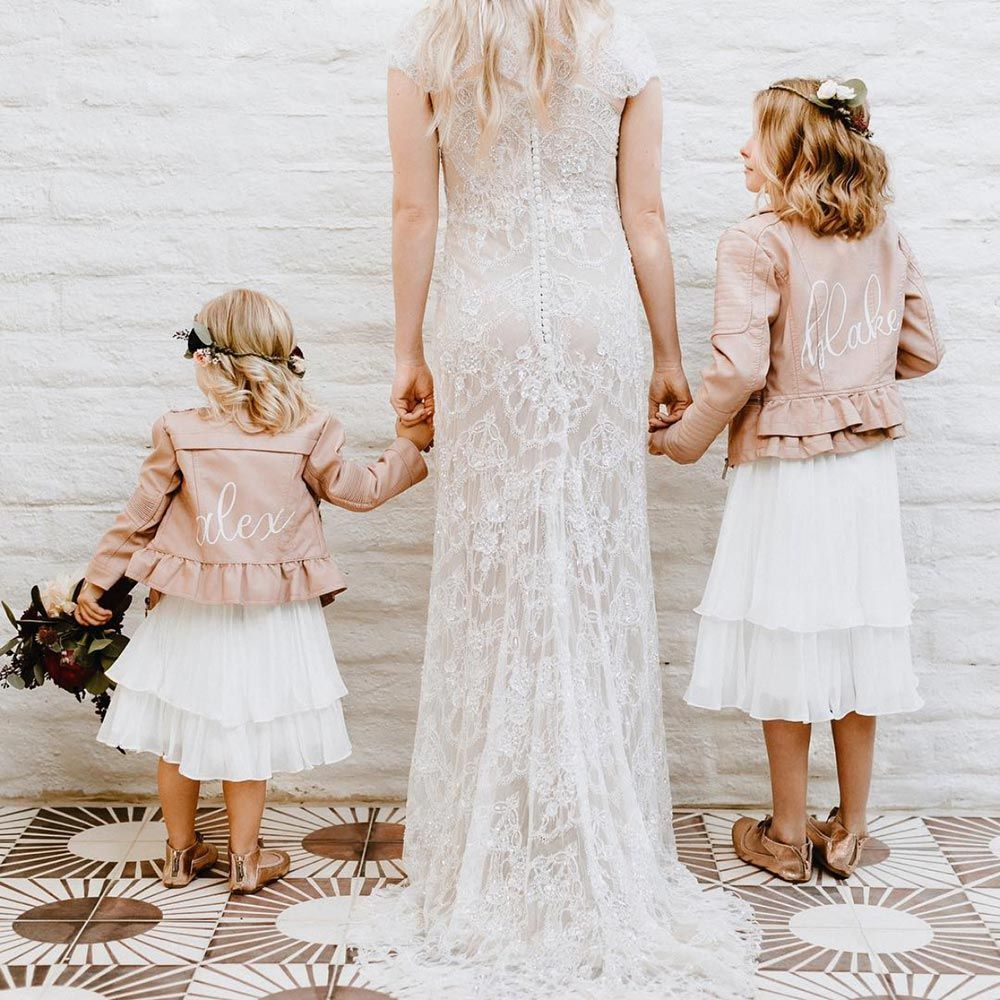 28 Ways You Can Embrace The Summer Wedding Jackets Trend Real Brides Dresses Flower Girl Bridesmaid [ 1000 x 1000 Pixel ]