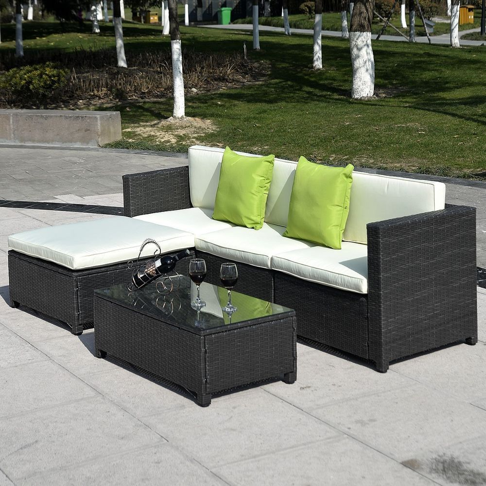 Patio Outdoor 5pc Wicker Couch Chair Ottoman Coffee Table Garden Furniture  Set