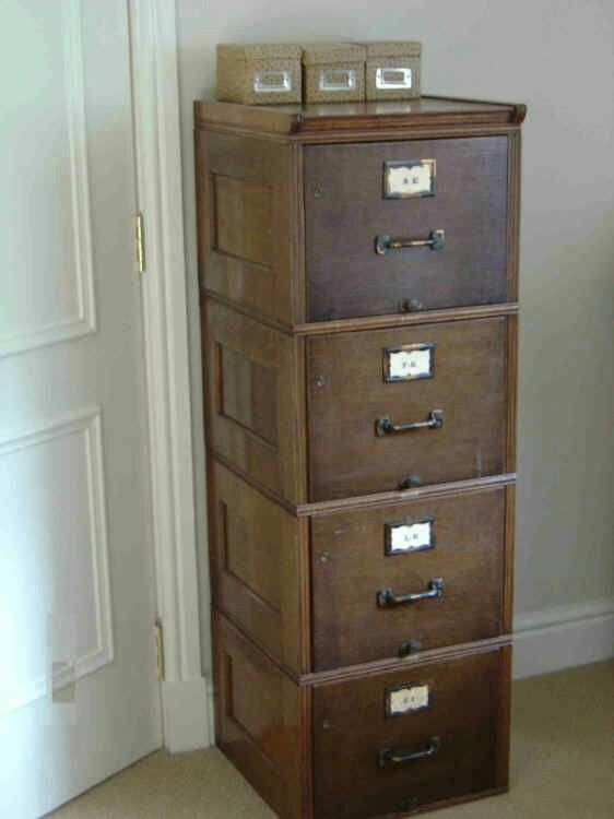 Beau Old Wooden File Cabinet