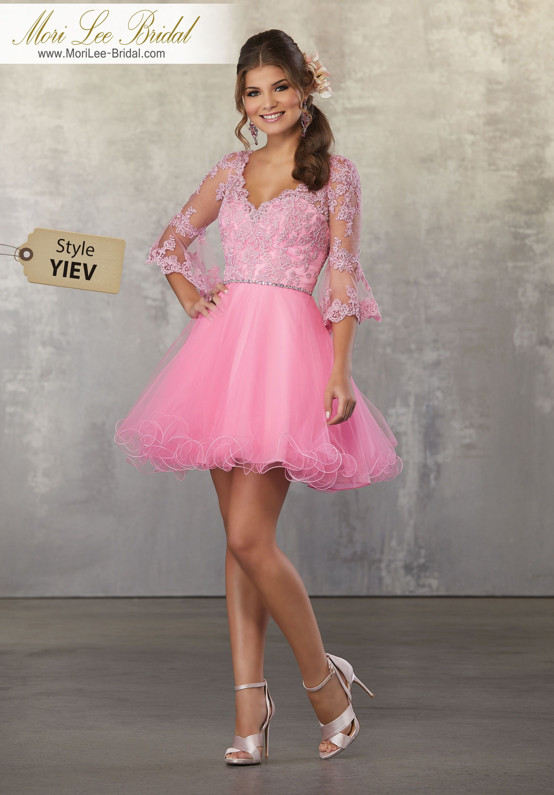 Style YIEV Lace and Tulle Party Dress with V-Neckline and Bell ...