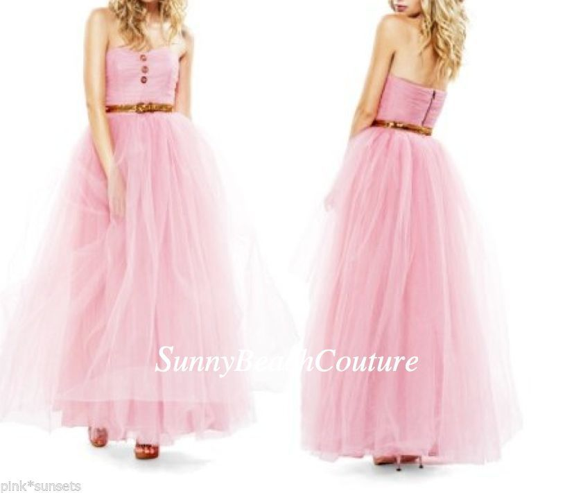 Betsey Johnson Pink Pow Poof Strapless Gown Dress Seen on Glee Prom ...