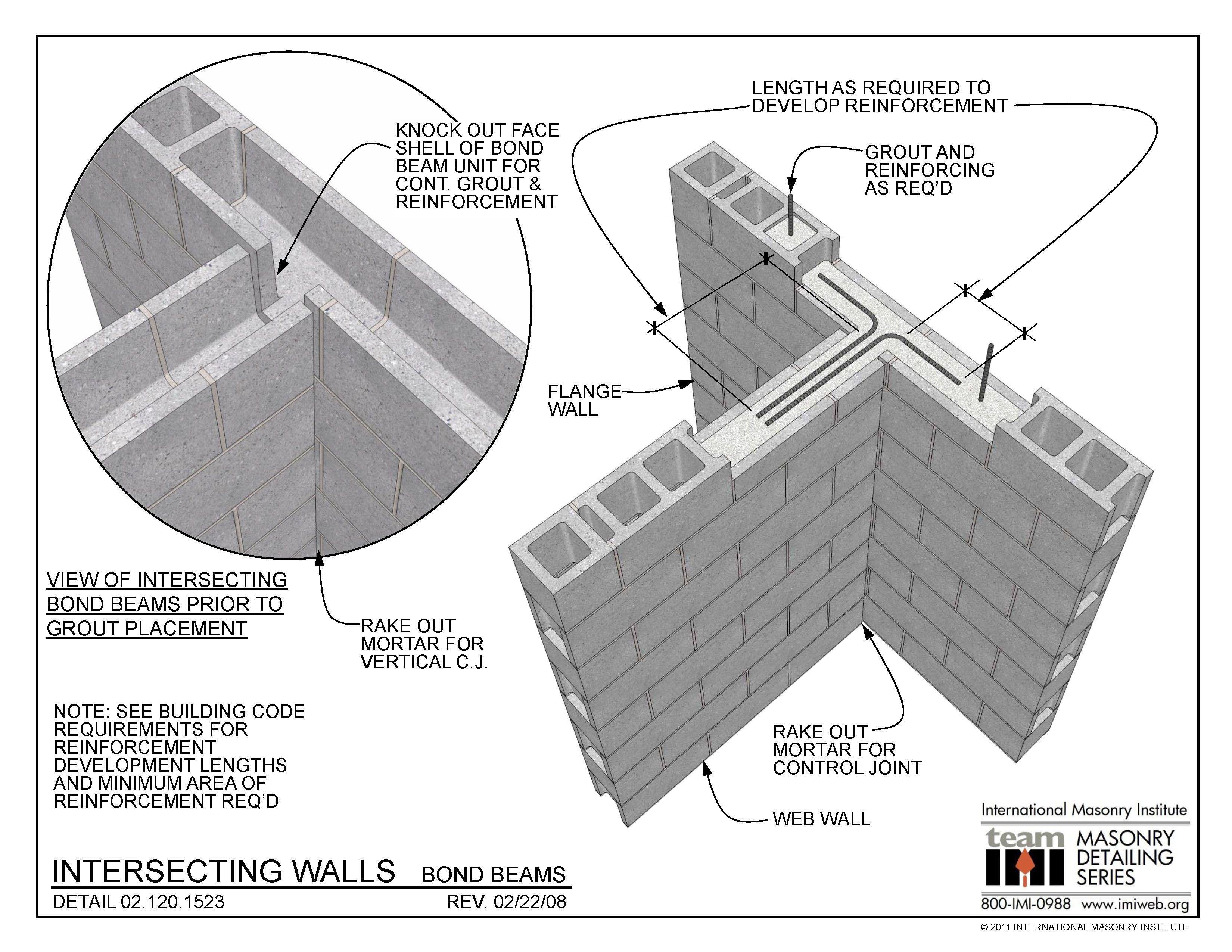 02 120 1523 Intersecting Walls Bond Beams International Concrete Block Walls Interlocking Concrete Blocks Beams