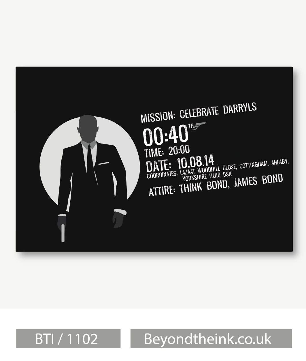 Personalised James Bond 007 Invitations Printed On Professional 300 GSM Smooth Card With Free Envelopes Delivery As Standard Beyondtheinkcouk