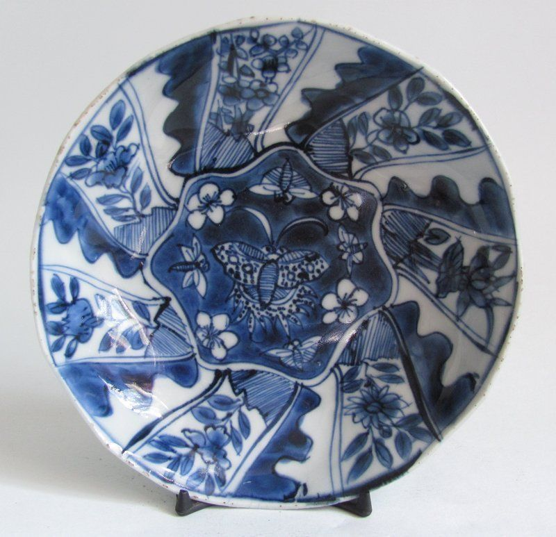 Chinese Butterfly And Lotus Pad Dish Late Ming
