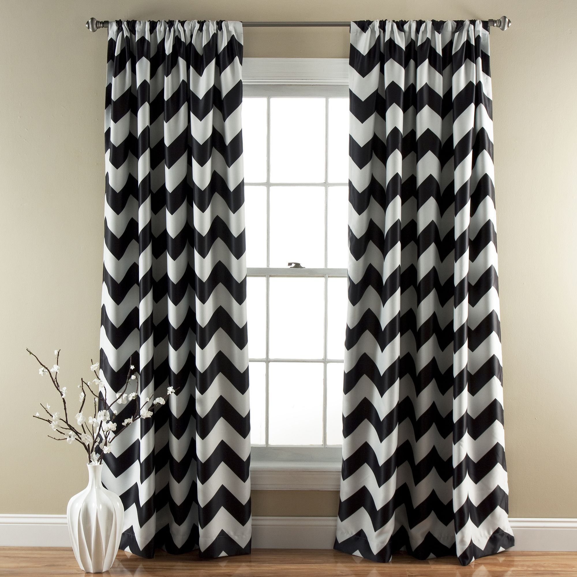 Lush Decor Chevron Blackout Window Curtain Pair  52 X
