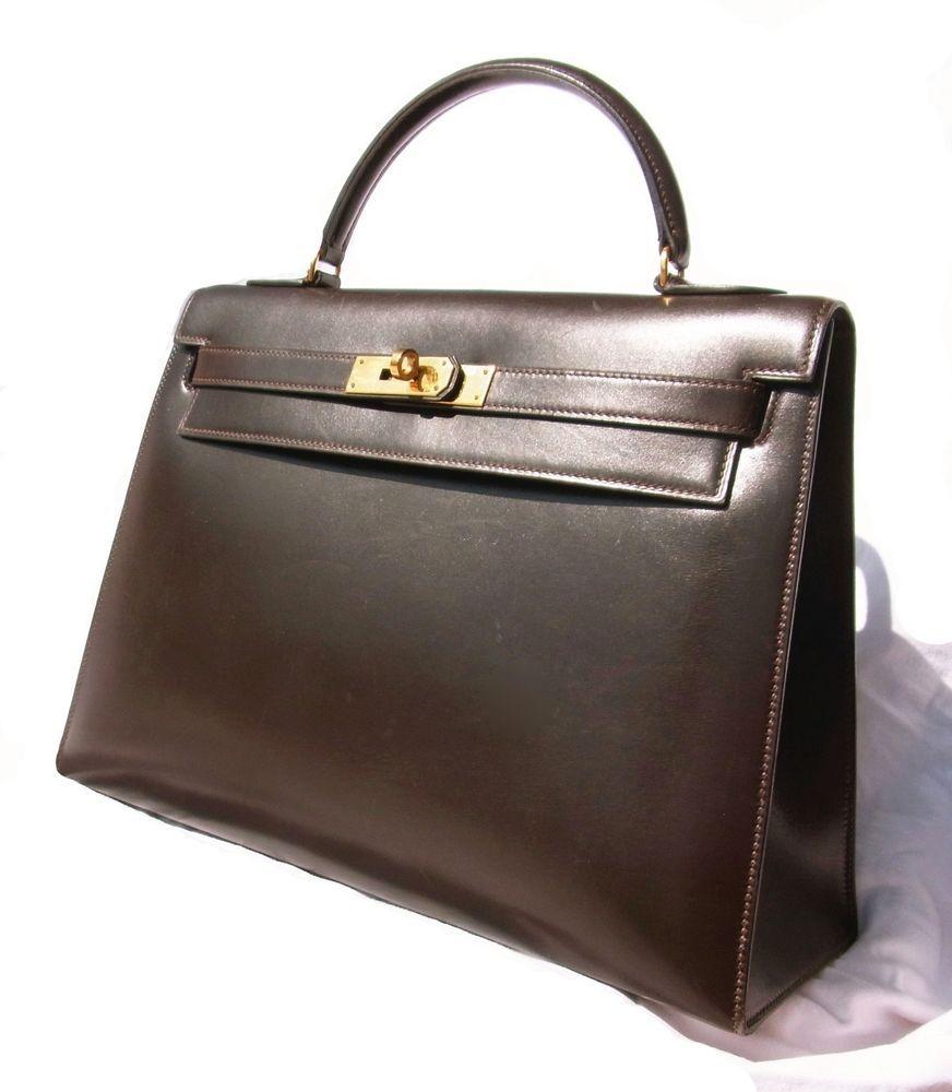 21b66c7c3d2 RARE HERMES KELLY BAG 32cm CHOCOLATE DARK BROWN BOX CALF #Hermes #Handbag