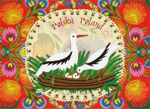 Folk and traditional Polish paper cut designs (wycinanki). Designed By Folk Artist Miroslawa Stefaniak.Wycinanki, pronounced Vee-chee-non-kee is the Polish word for 'paper-cut design'. This style comes from the area of Lowicz. It is distinguished by the many layers of brightly colored paper used in its composition. The unique richness of paper-cut designs done in the Polish tradition is a special contribution to the artitistic heritage of the world.