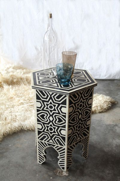 Delicieux Ethically Sourced Camel Bone Inlay Hexagonal End Table   Nightstands U0026 Side  Tables   Shop Nectar   1