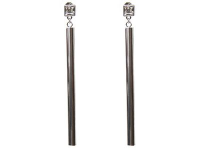 How cool are these bar dangle earrings? Feeling very fashion-forward and sleek in these!   White Crystal Silver Tone Dangle Earrings