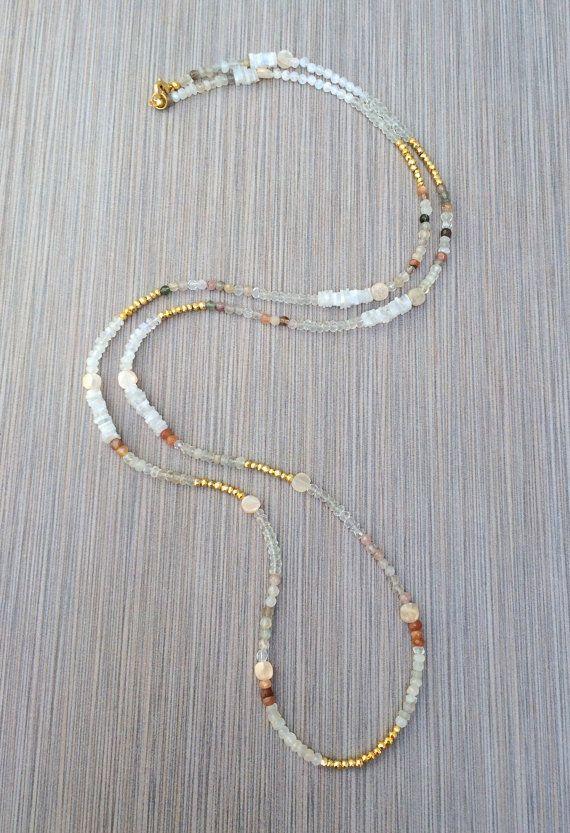 Boho Long Beaded Necklace – Semi Precious Gemstone Beaded Necklace, Moonstone Necklace, Gold Pyrite, Layering Bohemian Style by loveandlulu