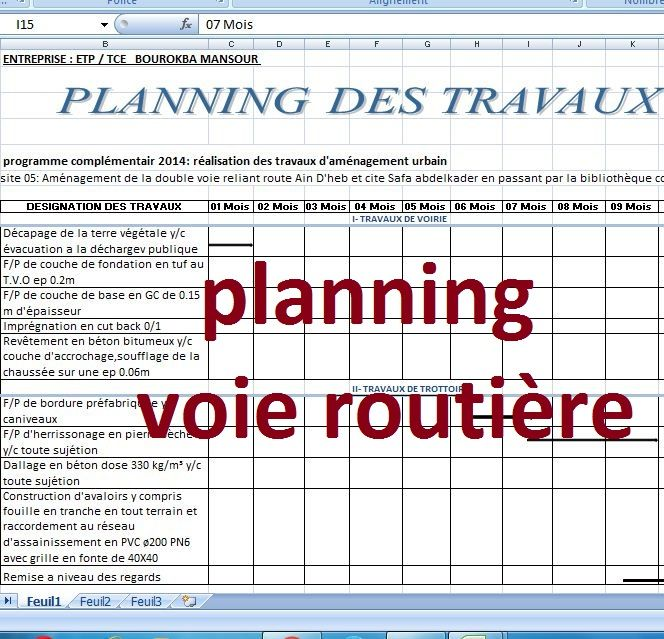 Extrem Exemple de planning travaux route sur excel | cours de genie civil  SX67