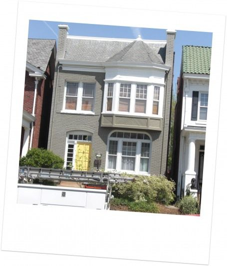 Taupe Exterior House Color Ideas: Taupe House With The Sunshine-yellow Door, And All Those
