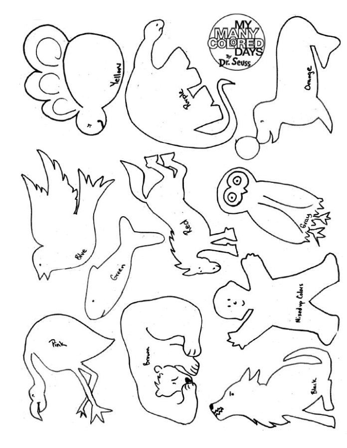 my many colored days coloring sheet with animals