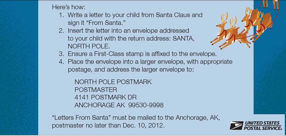 Usps Letter From Santa With North Pole Return Address Must Be