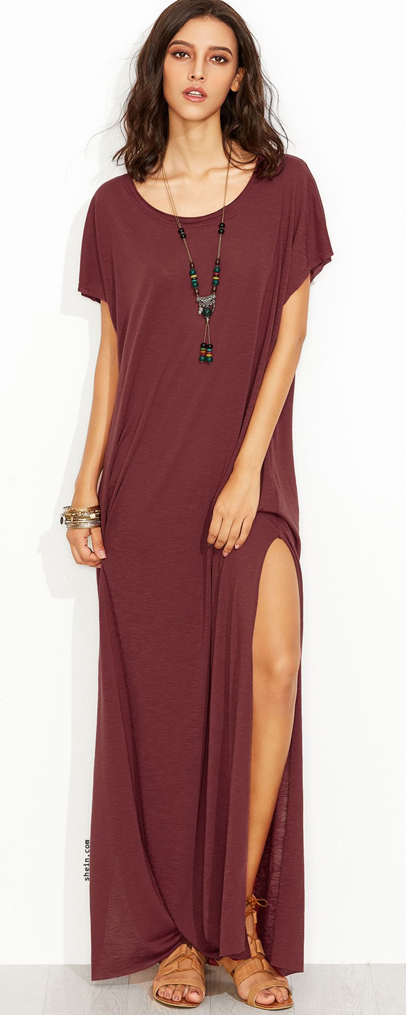 a32a0b7b0d0f  Summer  Outfits   Burgundy Slit Maxi Dress + Brown Sandals