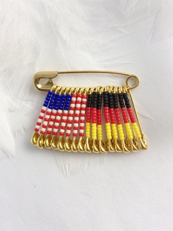 US Germany Pin Gift For Her Handmade Birthday USA German Flag Lapel Brooch Beaded