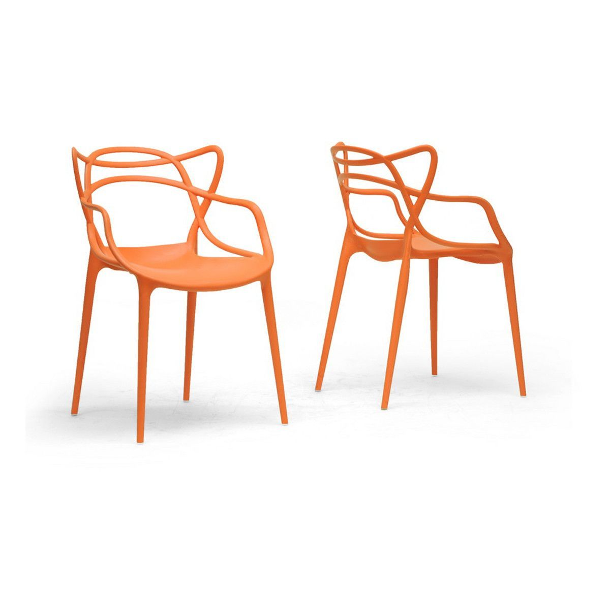 Aeriss Stackable Modern Dining Chairs, Set of 2