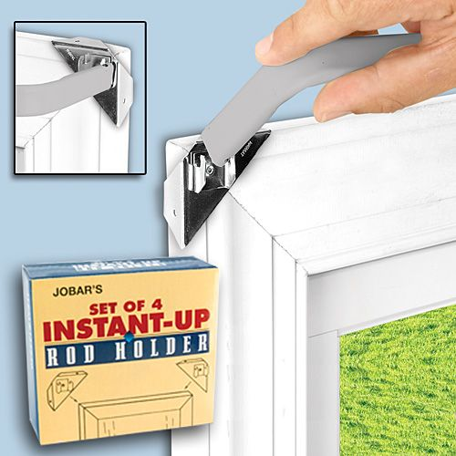 Instant Up Curtain Rod Holders Lets You Effortlessly Hang Curtains Without The Need For Nails Or Screws While Eliminating Unsightly Holes BOGO