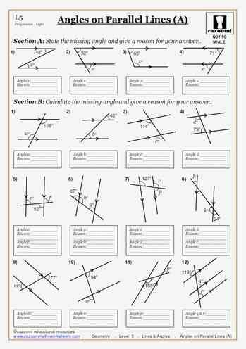Printable Worksheets Angles On Parallel Lines A Maths Worksheet