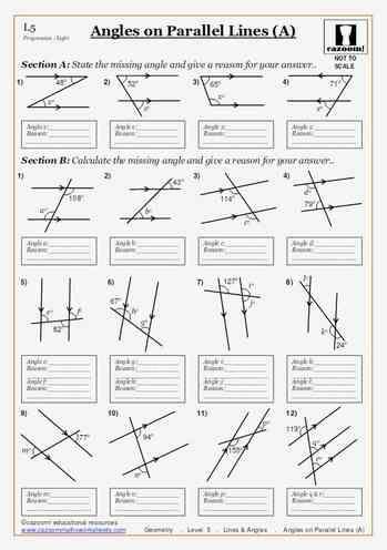printable worksheets angles on parallel lines a maths worksheet math 8 unit 8 pythagorean. Black Bedroom Furniture Sets. Home Design Ideas