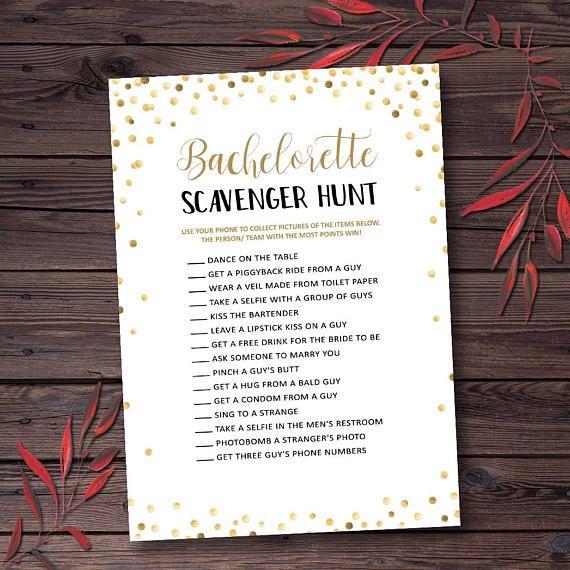 Bachelorette Scavenger Hunt, Gold Confetti Bachelorette Party ...
