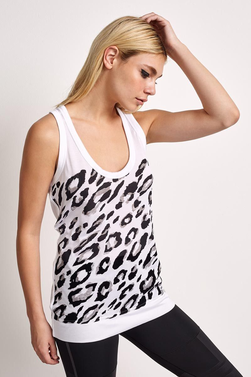fda6aaa109fb adidas X Stella McCartney Essentials Leopard Tank White - The Sports Edit -  2