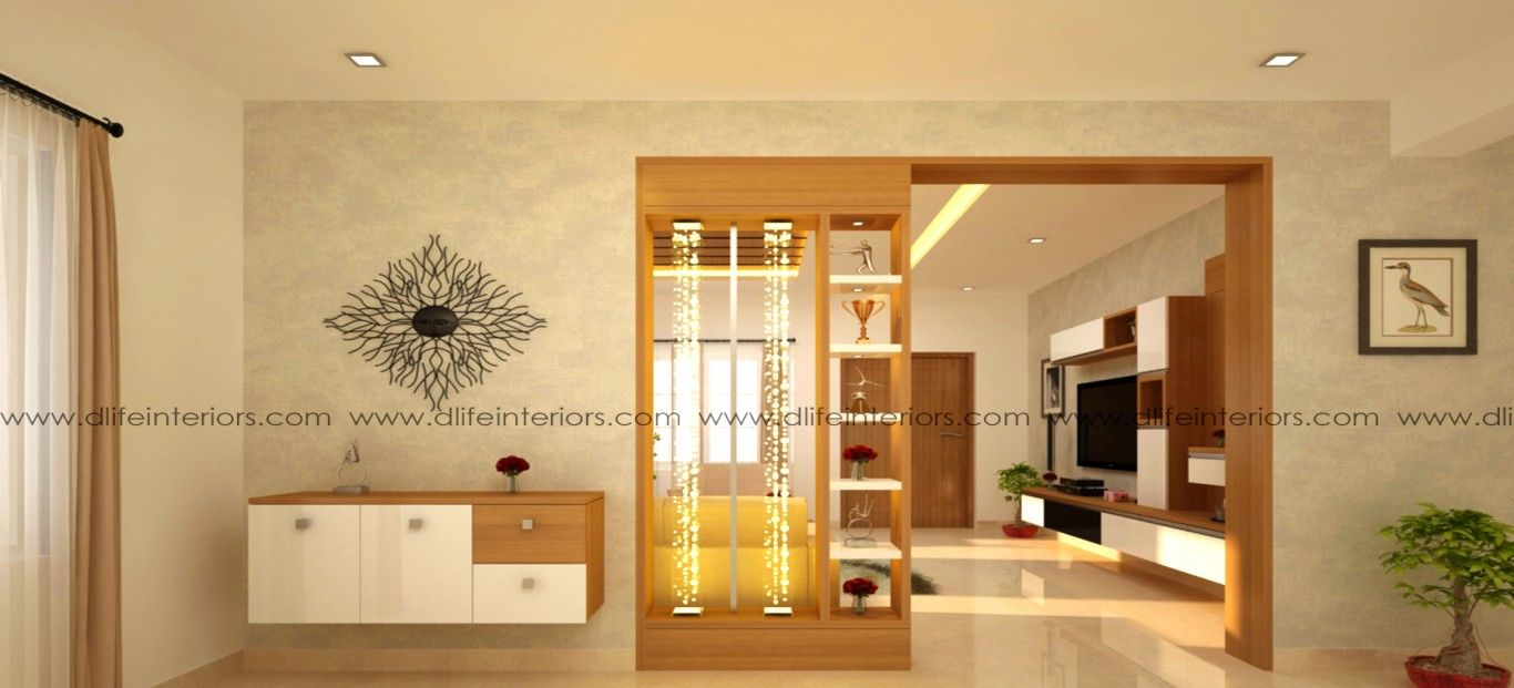 Beautiful Living And Dining Partitions With Integrated Decorative Shelves And Com Interior Design Dining Room Living Room Partition Design Hall Interior Design