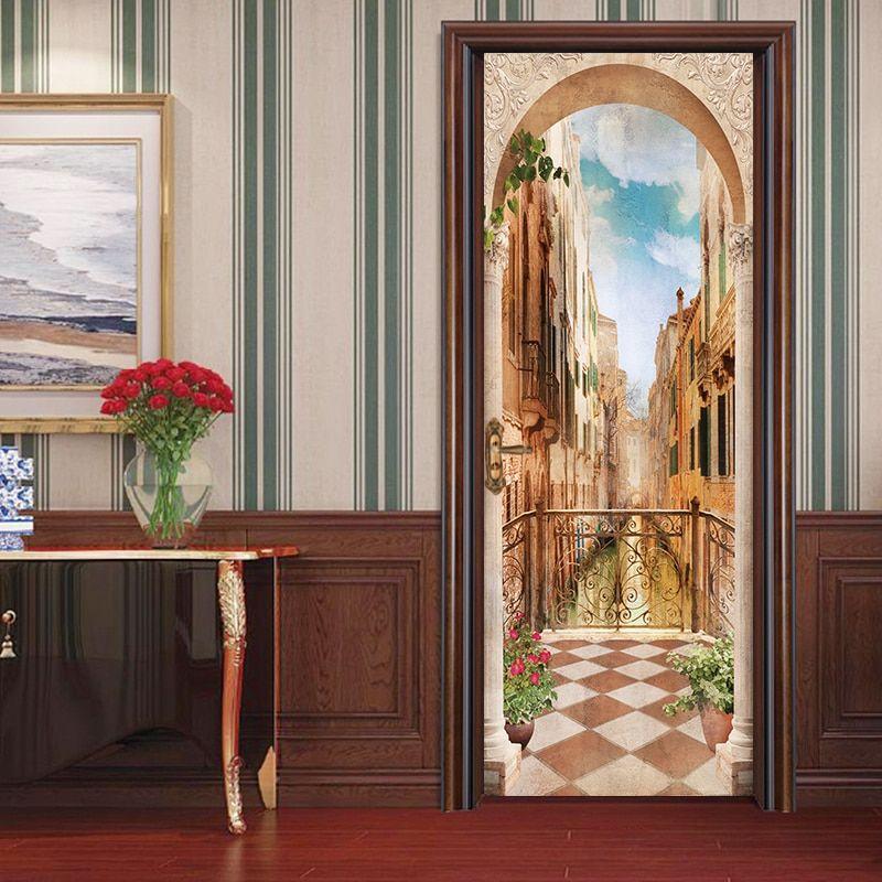 77 200cm 3d Diy Balcony Roman Column Door Sticker Wallpaper Mural Pvc Waterproof Bedroom Living Room Poster Home Mural Wallpaper Cheap Wall Stickers Wallpaper