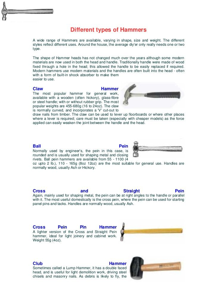 Different Types Of Hammersa Wide Range Of Hammers Are Available Varying In Shape Size And Weight The Differentstyles Re Hammers Metal Working Type