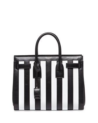 Saint Laurent Sac de Jour Striped Small Carryall Bag, Black/White ...