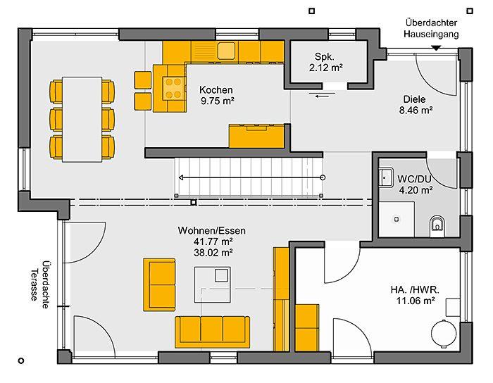 Wohnideen Raumaufteilung fertighaus trento grundriss eg grundrisse