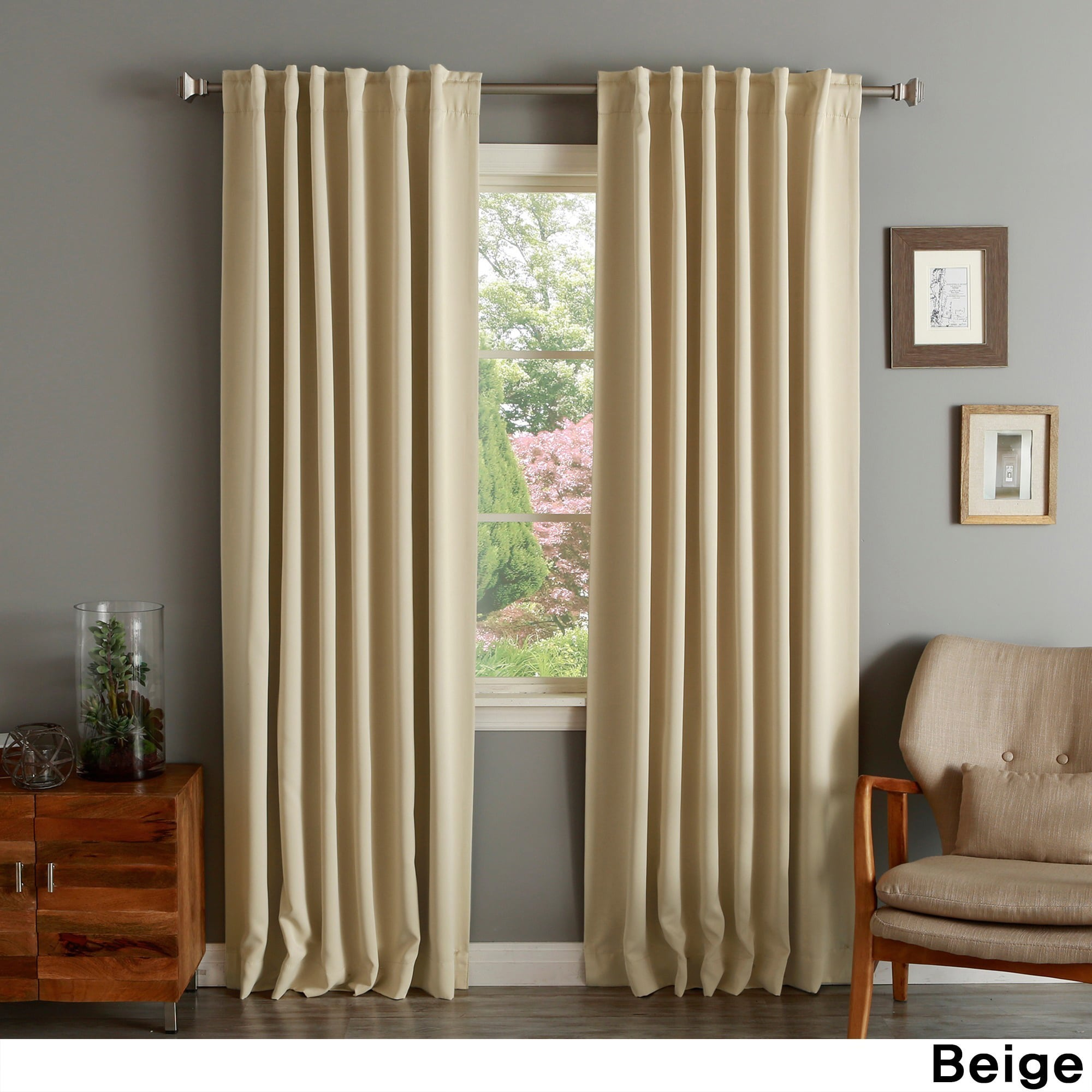 Aurora Home Solid Thermal Insulated 108 Inch Blackout Curtain Panel Pair 52 X Beige