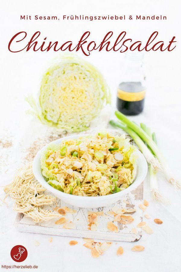 Chinakohlsalat mit Mie Nudeln, Mandeln und Sesam (Salat ...