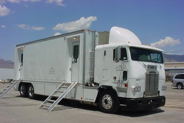 Super Luxurious Men's and Woman's Restroom Truck is over 40 feet long, and can be combined with our Trailers for the Ultimate Combo.Built by RACO