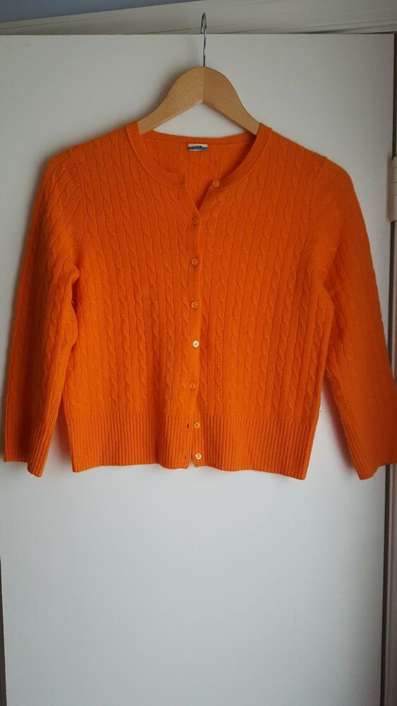J Crew Cable Knit Cashmere Cardigan Orange S #fashion