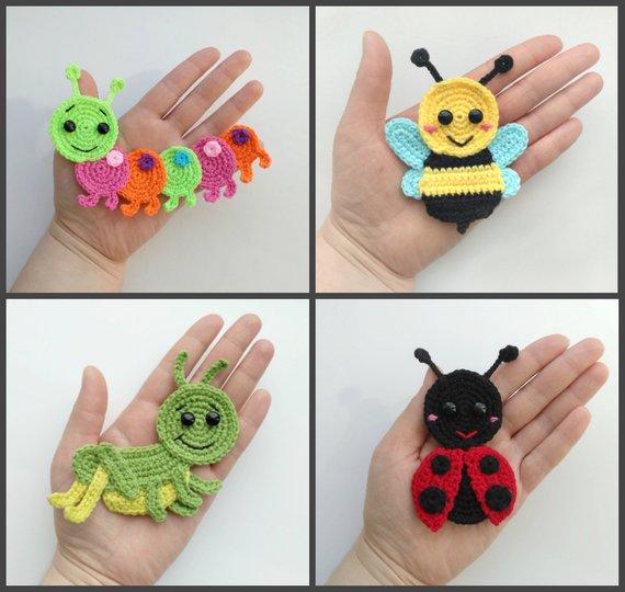 PATTERN Bugs Applique Crochet Patterns PDF Caterpillar Bee Grasshopper Ledybug Crochet Appliques Spring Suumer Motif Baby Blanket Gift ENG #crochetapplique