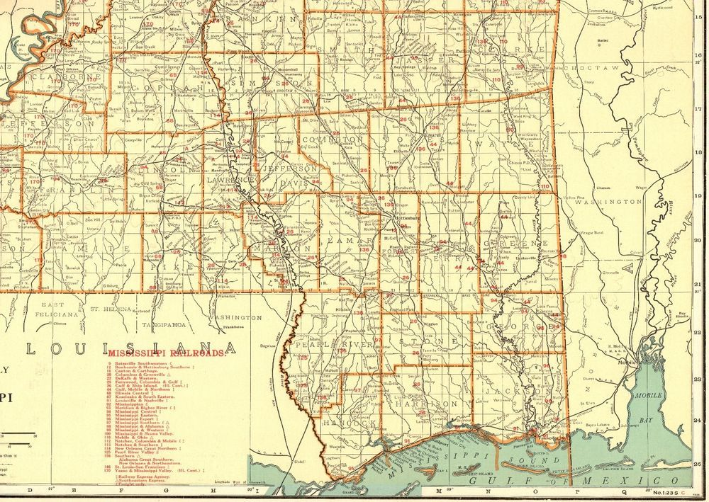 1930 Antique Mississippi State Map Vintage Map W Railroads Rare Size - Us-map-1930