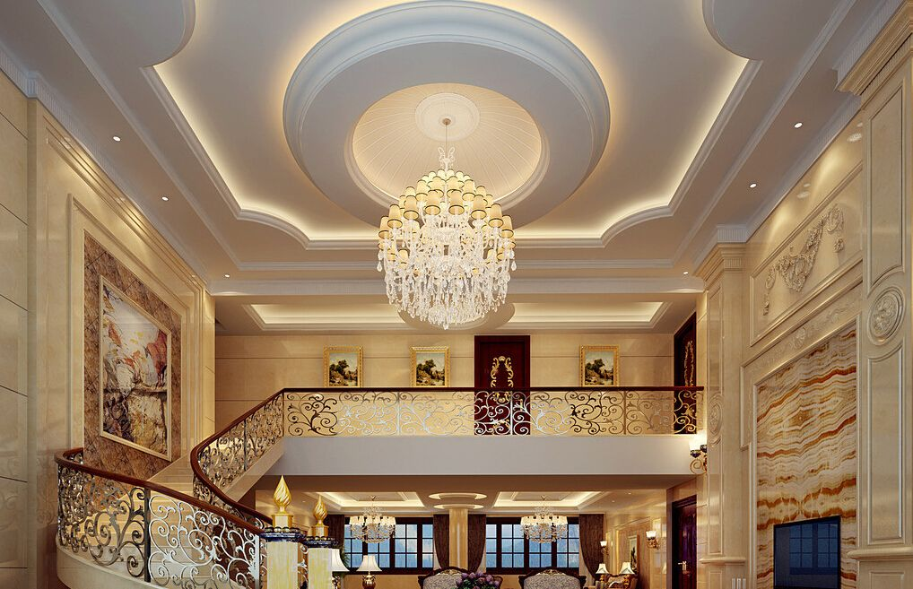 Luxury Villa Staircase And Suspended Ceiling Lamps Ceiling