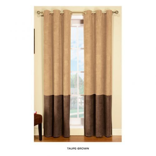 Two Tone Blackout Faux Suede Curtains Pack Of 2 5 Colors
