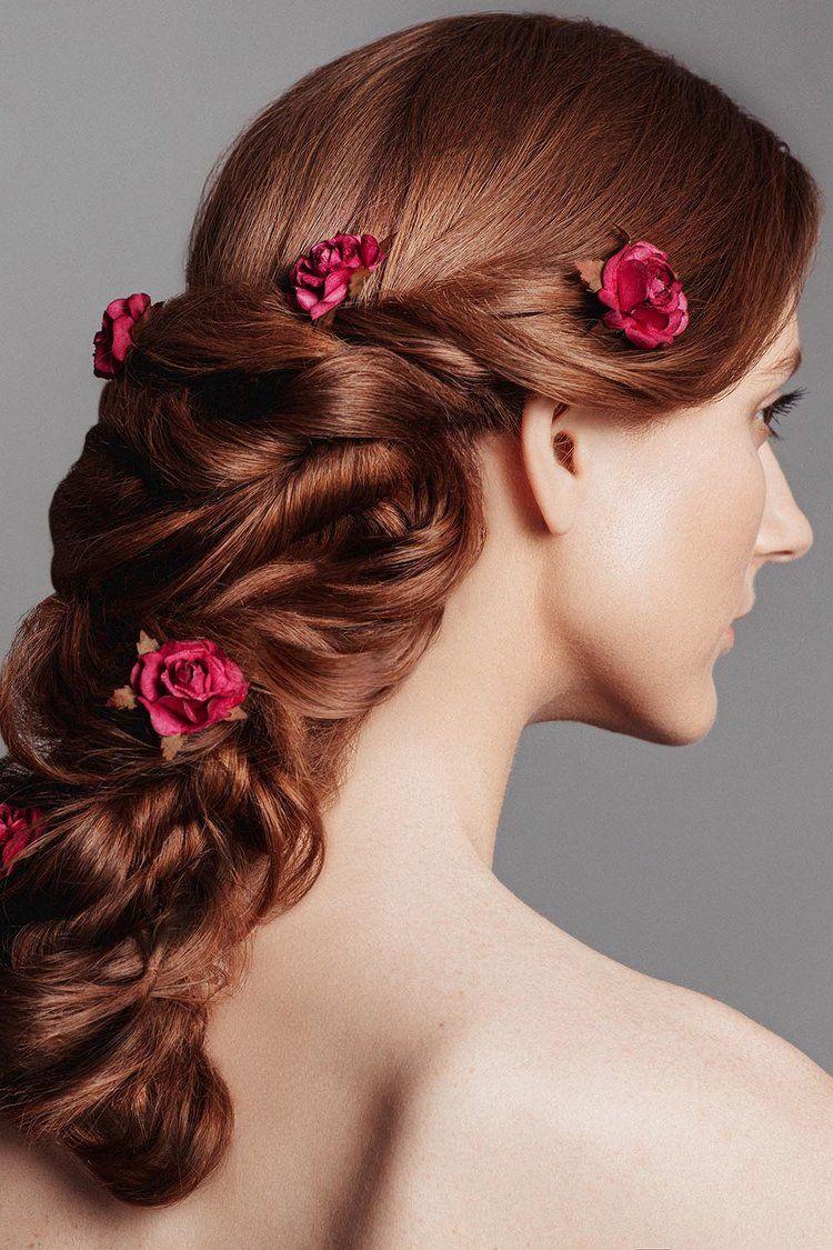 Amazingly beautiful greek braid with incorporated flowers