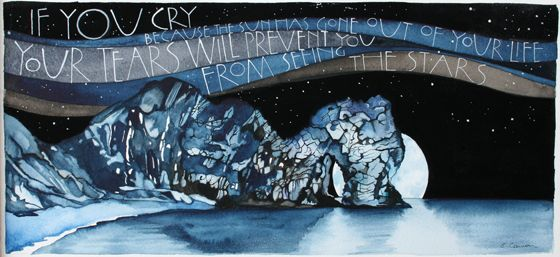 If you cry because the sun has gone out of your life, your tears will prevent you from seeing the stars - Sam Cannon Artist Print Durdle Door