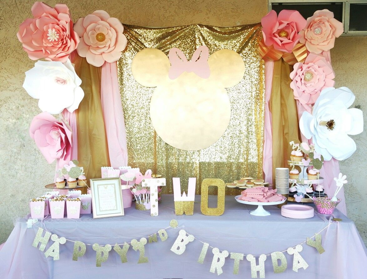Pink And Gold Minnie Mouse Birthday Party Backdrop Candy Buffet Decorations Diy Minnie Mouse Birthday Decorations Minnie Birthday Party Birthday Parties