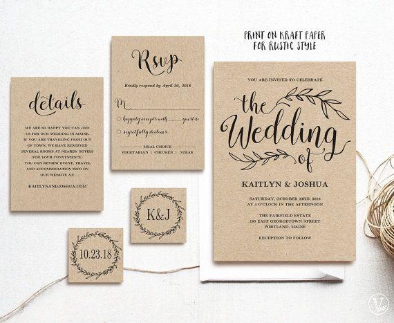 Vintage Wedding Invitation Template Rustic Wedding Invitation Etsy Free Wedding Invitation Templates Kraft Wedding Invitations Wedding Invitation Templates Rustic