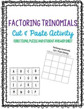 Factoring Polynomials Puzzle Worksheet