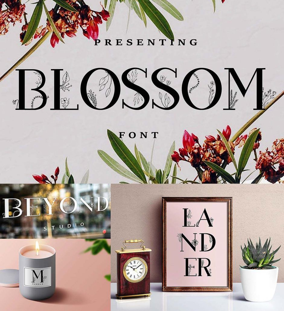 Blossom Font With Extras Free Download Floral Font Free Fonts Download Fonts