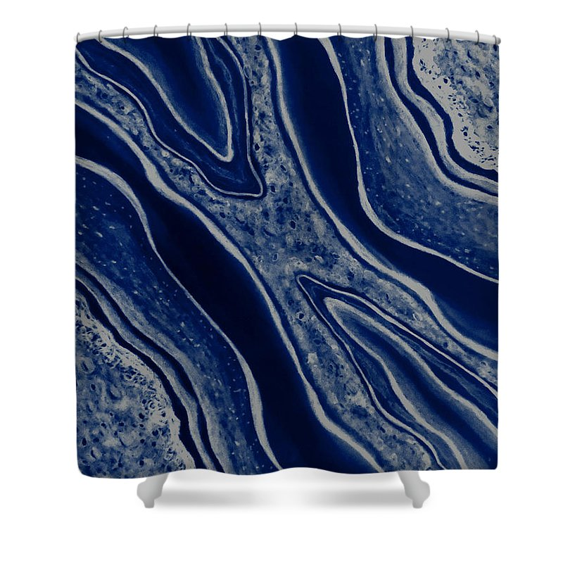 Fluid Motion Royal Blue Shower Curtain For Sale By Faye